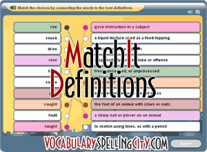 VocabularySpellingCity MatchIt Definitions
