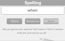 spelling test button