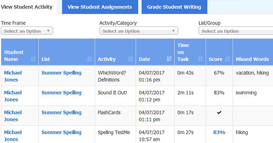 student records and grades